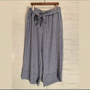 Women's Striped Wide Leg Crop Tie Waste Pants